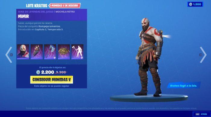 Paquete Kratos en Fortnite